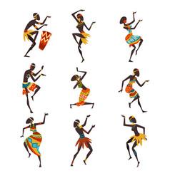African people dancing folk or ritual dance set vector