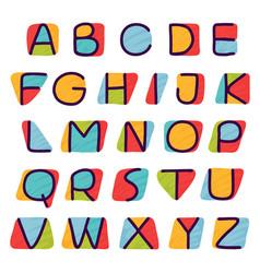 Alphabet in kids paper applique style vector