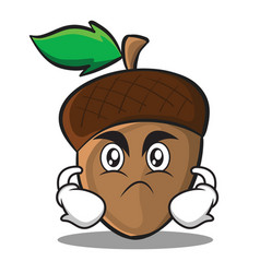 angry acorn cartoon character style vector image