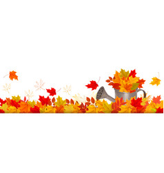 Autumn nature panorama with colorful leaves and vector
