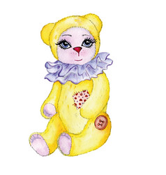 bear yellow painted watercolor vector image