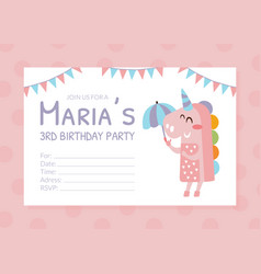 Birthday party pink invitation card flyer vector