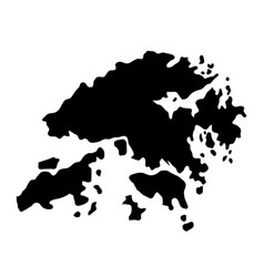 Black silhouette country borders map of hong kong vector