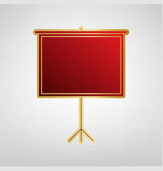 blank projection screen red icon on gold vector image