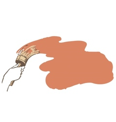 Brush in hand paints the wall vector image vector image