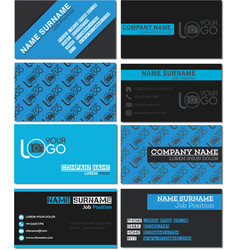 business card templates in blue and black style vector image