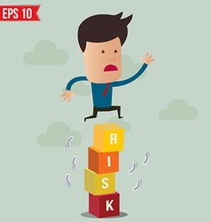 Business man jump over risk block - - ep vector