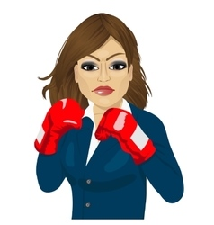 Business woman ready to fight with boxing gloves vector