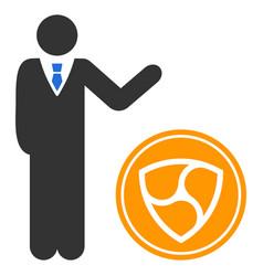 Businessman show nem coin flat icon vector
