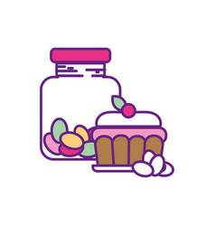 Candy almonds inside jar and cake dessert vector