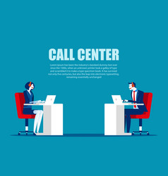 Cartoon characters for call center concept vector