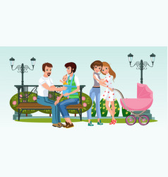 cartoon happy homogenderual couples together in vector image