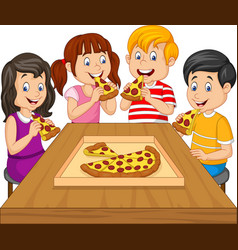 Cartoon kids eating pizza together vector