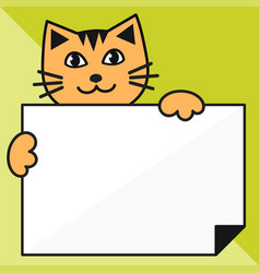 Cat with sheet of paper on green background vector