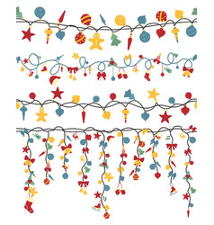 christmas light garlands set colour isolated vector image