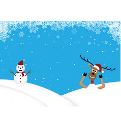 christmas reindeer lie in snow hill background vector image
