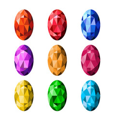 colorful gemstones isolated on white background vector image