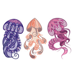 Colorful jellyfish set vector