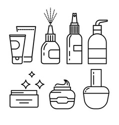 Cosmetics containers skincare cream and lotion vector