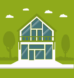 Country cottage in flat style a on a green vector