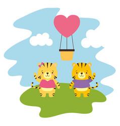 cute couple tiger vector image