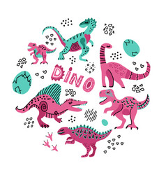 cute dinosaurs hand drawn color vector image