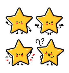 Cute funny happy star sign character set vector