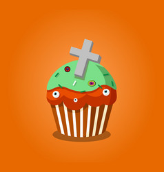 cute happy halloween cupcake with grave cross and vector image