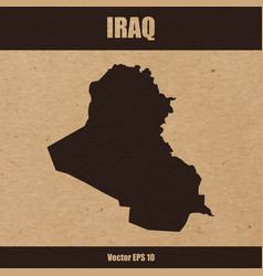 detailed map of iraq on craft paper vector image