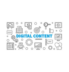 Digital content outline horizontal vector