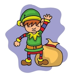 Elf with gift bag in Merry Christmas vector