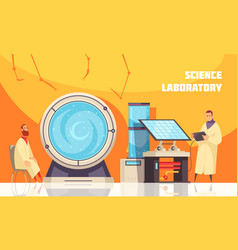 experimenting scientists in laboratory vector image