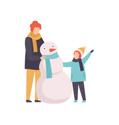 father and son making snowman happy family winter vector image