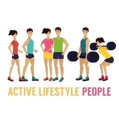 fitness man and woman with barbell in gym vector image vector image