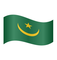 flag of mauritania waving on white background vector image vector image