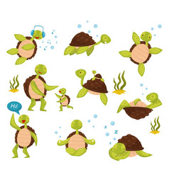Flat set of cute turtles in different vector