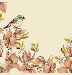 floral background and cute bird design vector image