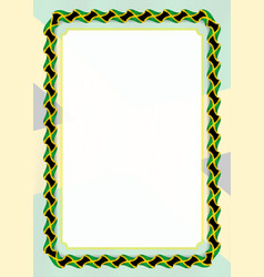 Frame and border of ribbon with jamaica flag vector