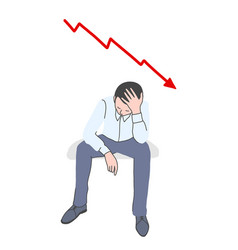 Frustrated man with falling chart behind vector