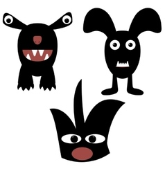 funny monsters painted black vector image vector image