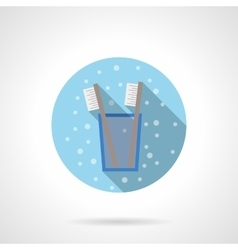 Glass with toothbrush round flat color icon vector image