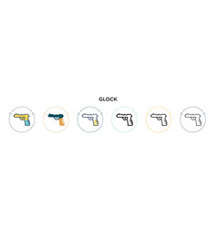 Glock icon in filled thin line outline and stroke vector