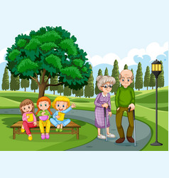 Grandpa and grandma in park with many children vector