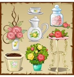Great set tableware furniture and flowers vector