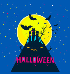halloween bats flying over a horrible hill vector image