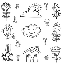 Hand draw of spring element doodles vector
