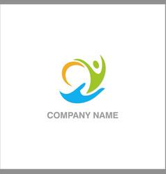 Hand help people logo vector