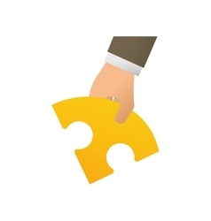 Hand holding a puzzle vector image