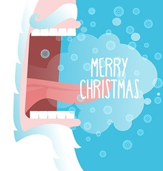 Happy Christmas Santa Claus shouts Snowflakes fly vector