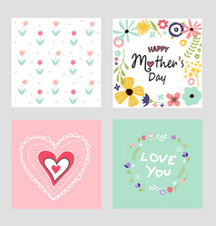 happy mothers day template cards set vector image